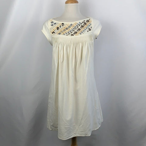 Andrew Marc Cream with Beaded Neck Dress