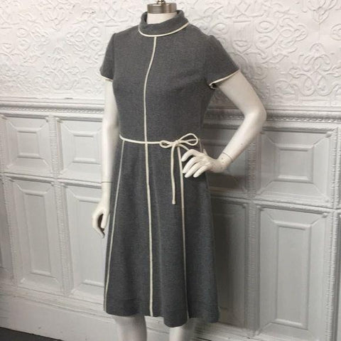 Vintage Bergdorf Goodman Grey w/Cream Piping Dress