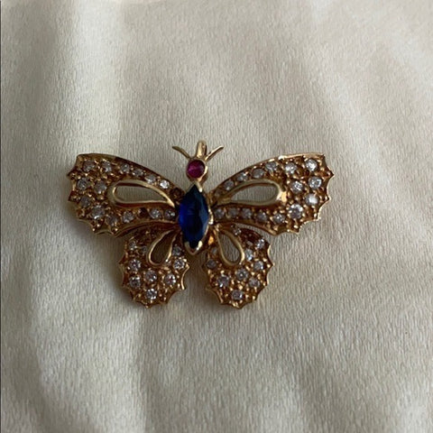 Diamond Sapphire Ruby 14k Gold Butterfly Pin