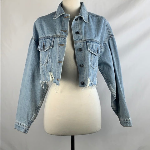 Rumors Denim Deconstructed Cropped Jacket