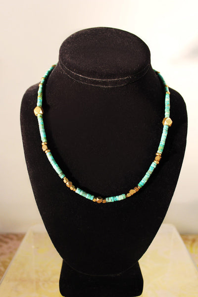 Artemis Necklace - Natural Turquoise and Indian brass