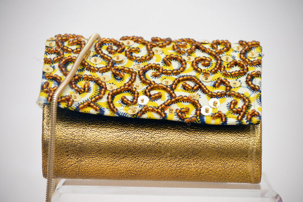 Beaded Clutch - Gold, Ghana