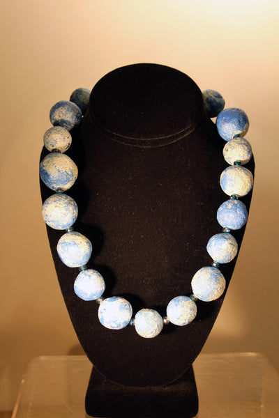Blue Sky Cosmic Paper Mache Necklace