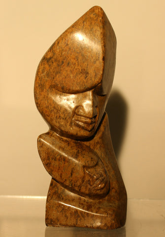 Serpentine 2 Face Family Shona Sculpture - Zimbabwe