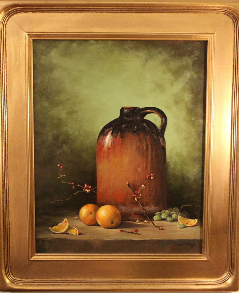 Old Jug with Oranges Oil Painting, Artist - Chantal O'Keeffe