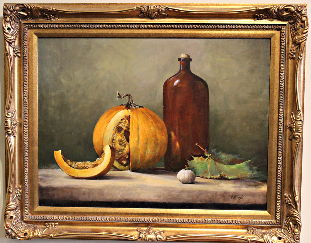 Pumpkin with Brown Bottle Oil Painting, Artist - Chantal O'Keeffe