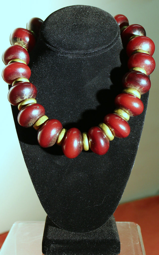Lg Amber & Brass Bead Necklace