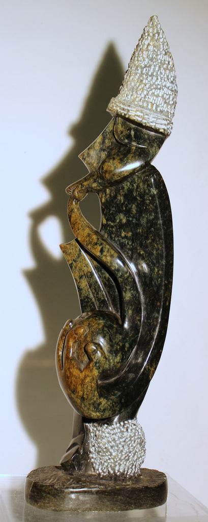 Pipe Smoker Serpentine Shona Sculpture - Zimbabwe