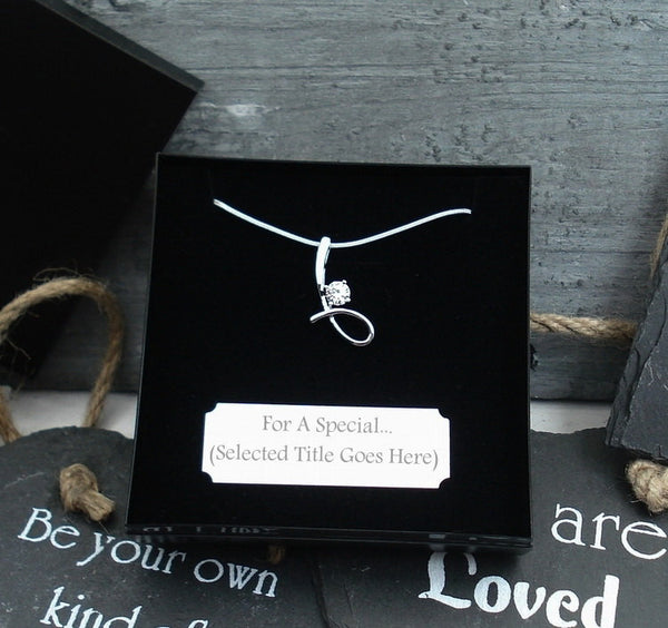 WN Swirl Loop Necklace Gift For Bridesmaid Maid Of Honor Matron Junior Poem/Box