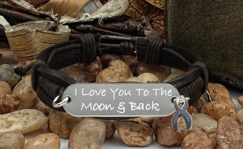 GR-1 Brain Tumor Brain Cancer Awareness Jewelry I Love You To The Moon & Back Bracelet