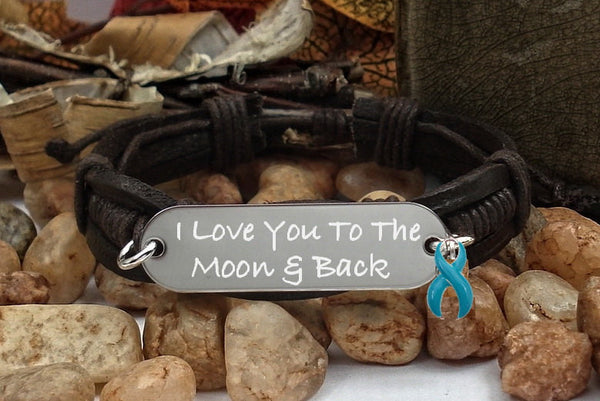 TE-1 Cervical Cancer Ovarian Cancer PCOS Awareness I Love You To The Moon & Back Bracelet