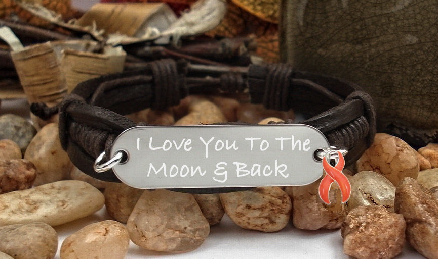 RO-1 Kidney Cancer Multiple Sclerosis MS Awareness I Love You To The Moon & Back Bracelet