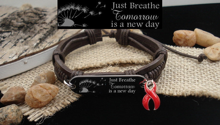 RE-1 Heart Disease Stroke Survivor Jewelry  Just Breathe Leather Bracelet
