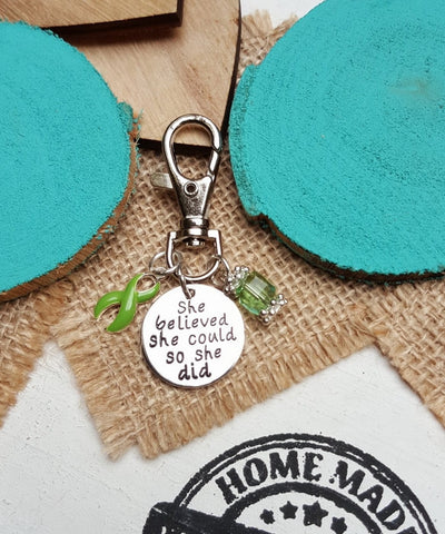LG-3 Lung Transplant Gastroparesis Lyme Disease Awareness Keychain She Believed She Could So She Did