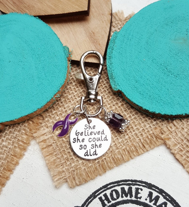 DP-3 Cystic Fibrosis Pancreatic Cancer Awareness Keychain She Believed She Could So She Did