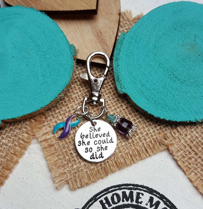 TP-6 Domestic Violence Sexual Assault Awareness Keychain She Believed She Could So She Did