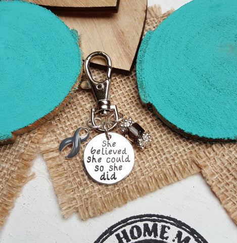 GR-3 Brain Tumor Brain Cancer Diabetes Awareness Keychain She Believed She Could So She Did