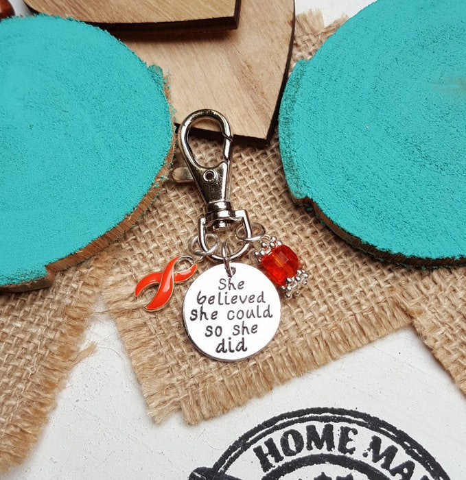 RO-3 Leukemia Multiple Sclerosis Kidney Cancer Awareness Keychain She Believed She Could So She Did