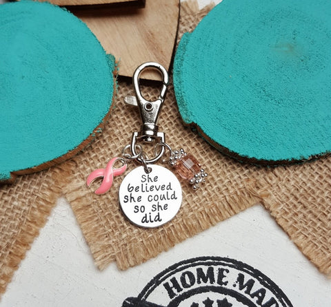 PI-3 Breast Cancer Awareness Keychain She Believed She Could So She Did