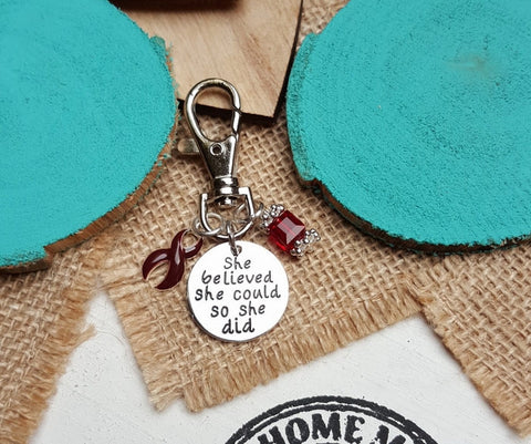 BU-3 Brain Aneurysm Multiple Myeloma Awareness Keychain She Believed She Could So She Did