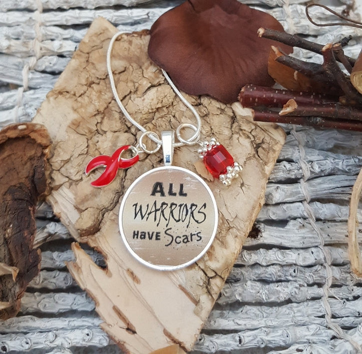 RE-2 Heart Disease Necklace Stroke Awareness Stroke Survivor All Warriors Have Scars Necklace