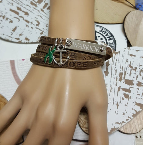 DG-1 Kidney Disease Awareness Organ Donor Jewelry Wrap Leather Bracelet