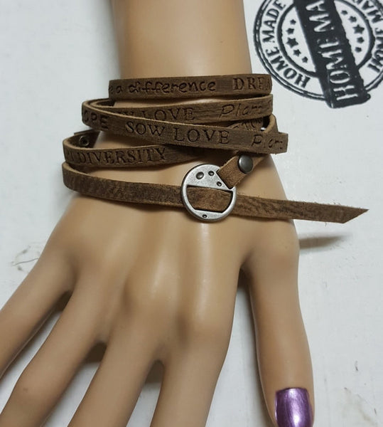 BY-4 Head & Neck Cancer Oral Throat Cancer Awareness Wrap Leather Bracelet