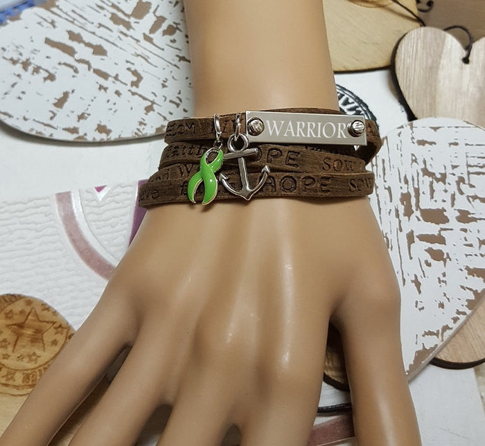 LG-1 Lyme Disease Non Hodgkins Awareness Jewelry Wrap Leather Bracelet