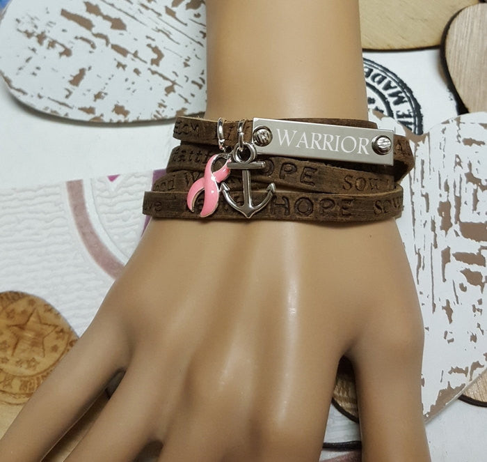 PI-1 Breast Cancer Mastectomy Awareness Support Jewelry Wrap Leather Bracelet