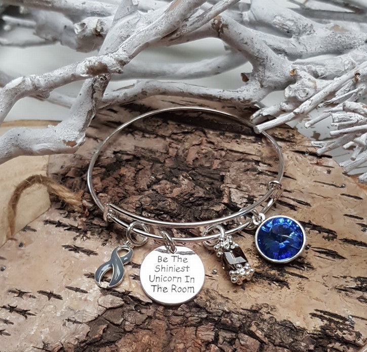 GR-1 Brain Cancer Brain Tumor Diabetes Parkinsons Unicorn Bracelet Awareness Jewelry
