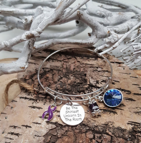 DP-1 Ulcerative Colitis Crohns Disease Cystic Fibrosis Unicorn Bracelet Awareness Jewelry
