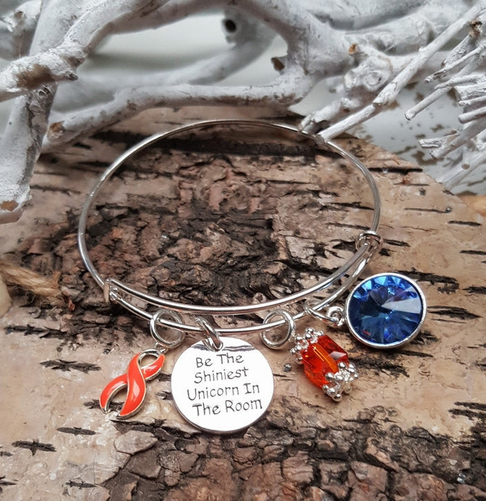 RO-1 Multiple Slcerosis Kidney Cancer Leukemia Unicorn Bracelet Awareness Jewelry