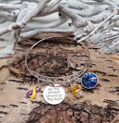 YP-4 Autoimmune Hepatitis Fibro & Endometriosis Unicorn Bracelet Awareness Jewelry