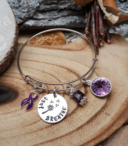 DP-1 Fibromyalgia Lupus Pancreatic Cancer Awareness Dandelion Bracelet Just Breathe Jewelry