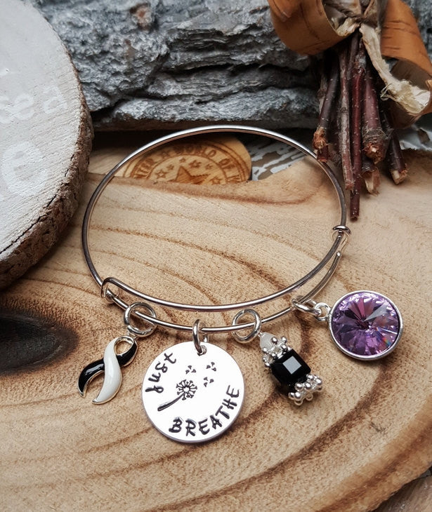BW-4 Ehlers Danlos CVID Awareness Endocrine Cancer Dandelion Bracelet Just Breathe Jewelry