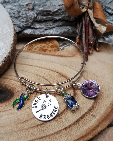 GB-4 IIH Awareness Intracranial Hypertension Awareness Dandelion Bracelet Just Breathe Jewelry