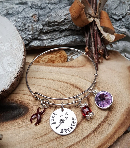 BU-1 Multiple Myeloma Brain Aneurysm Awareness Dandelion Bracelet Just Breathe Jewelry