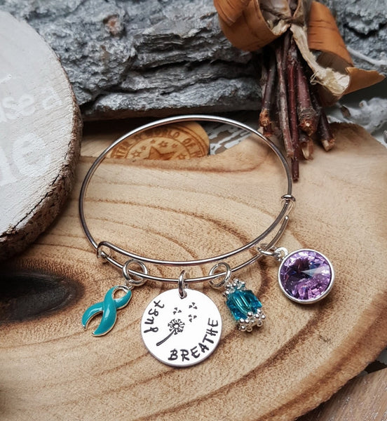 TE-1 Cervical Ovarian Cancer Tourettes Awareness Dandelion Bracelet Just Breathe Jewelry