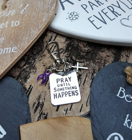 DP-3 Ulcerative Colitis Fibromyalgia Awareness Pray Until Something Happens Keychain For Men/Women