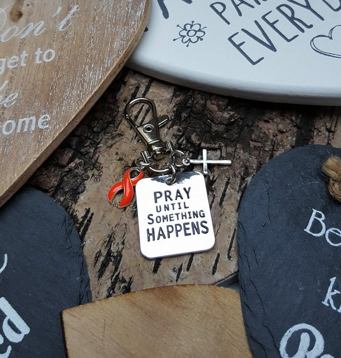 RO-3 Leukemia Multiple Sclerosis Kidney Cancer MS Awareness Pray Until Something Happens Keychain
