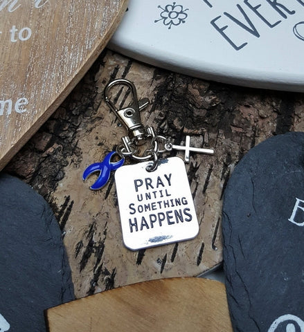 DB-3 Colon Cancer Alopecia Arthritis Awareness Pray Until Something Happens Keychain For Men/Women