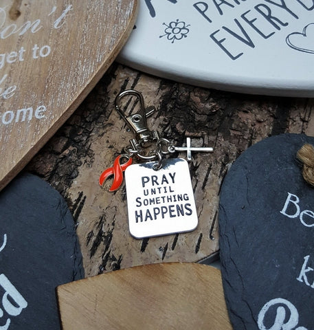 RO-3 Self Harm Teen Suicide Cutting Awareness Depression Pray Until Something Happens Keychain