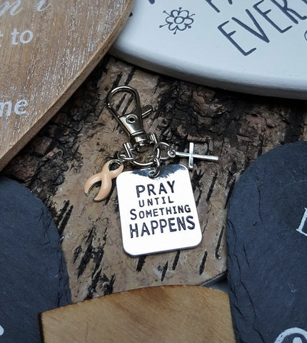 PE-3 Uterine Cancer Endometrial Cancer Awareness Pray Until Something Happens Keychain
