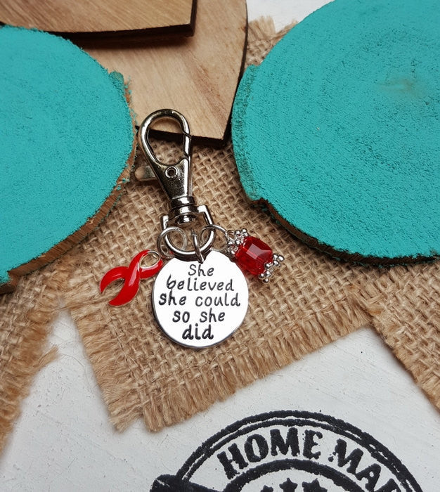 RE-3 AIDS HIV Awareness Keychain She Believed She Could So She Did