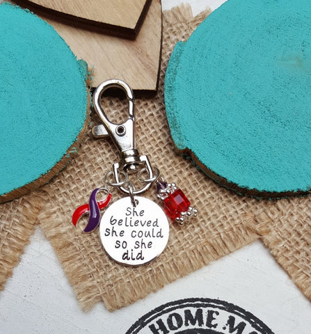 RP-6 Chronic Migraine DSRCT Cancer Awareness Keychain She Believed She Could So She Did