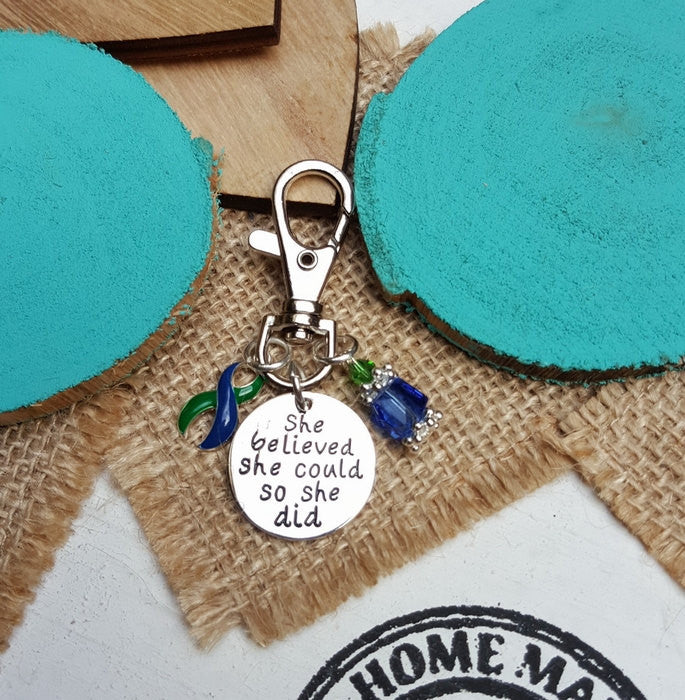 GB-6 IIH Awareness Intracranial Hypertension Awareness Keychain She Believed She Could So She Did