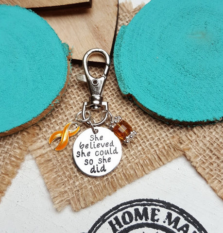 GO-3 Appendix Cancer Childhood Cancer Awareness Keychain She Believed She Could So She Dider