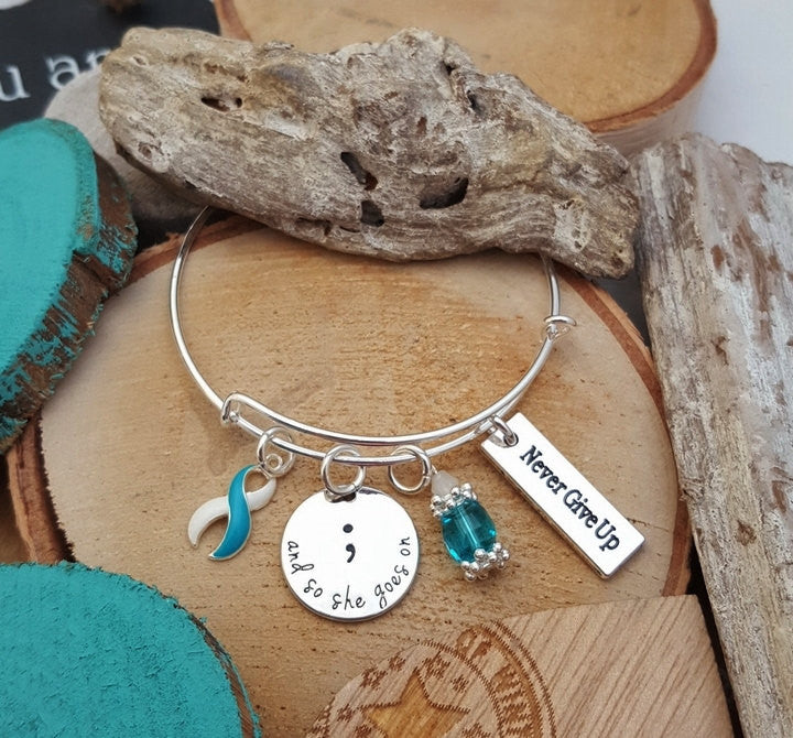 TW-4 Eating Disorder Recovery Jewelry Awareness And So She Goes On Semicolon Bracelet