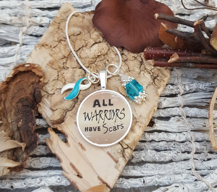 TW-5 Eating Disorder Recovery Jewelry Awareness Addiction Recovery All Warriors Have Scars Necklace