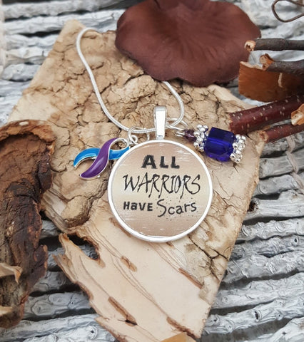 BP-5 Rheumatoid Arthritis Pediatric Stroke Awareness ME CFS All Warriors Have Scars Necklace